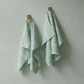 Set de 2 Mint Mano Toallas de Lino Multistripe