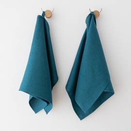 Navy Blue Linen Waffle Fabric Washed