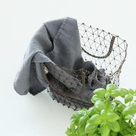 Conjunto de 2 Paños de Cocina fabricados en Lino, Gris acero, Stone washed
