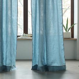 Cortina de Lino Stone Blue Stone Washed con Bolsillo Para Barra