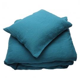 Conjunto de Cama de Lino Marine Blue Stone Washed