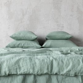 Conjunto de Cama de Lino Spa Green Stone Washed