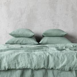 Spa Green Conjunto de Cama de Lino Stone Washed