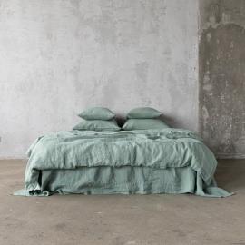 Conjunto de Cama de Lino Spa Green Stone Washed