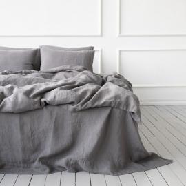 Steel Grey Conjunto de Cama de Lino Stone Washed
