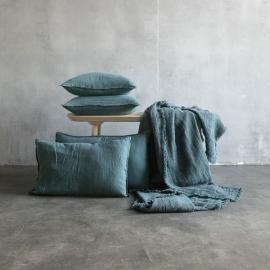 Balsam Verde Funda de Cojin de Lino Stone Washed