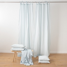 Cortina con Lazos de Lino Ice Blue Stone Washed
