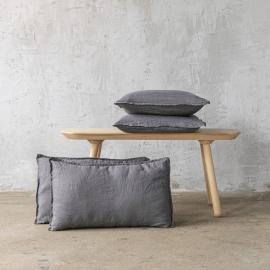 Steel Gris Funda de Cojin de Lino Stone Washed