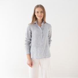 Navy Stripe Camisa de Lino Fabio