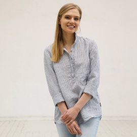 Blue Stripe Camisa de Lino Fabio