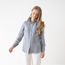 Camisa de Lino de Melange azul Marina