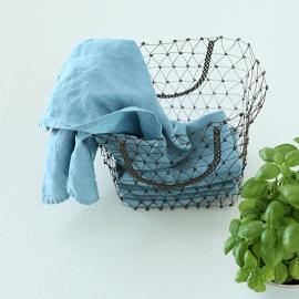 Conjunto de 2 Paños de Cocina fabricados en Lino, Piedra Azul, Stone washed