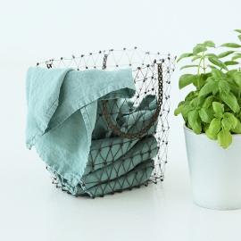 Conjunto de 2 Paños de Cocina fabricados en Lino, Spa Verde, Stone washed