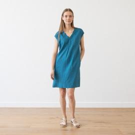 Vestido de Lino Indigo Emily