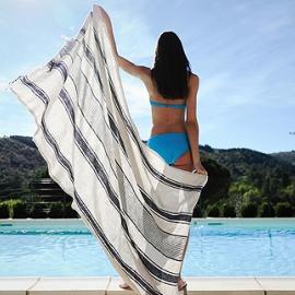 Toalla de Playa fabricada en lino largo Índigo Provence