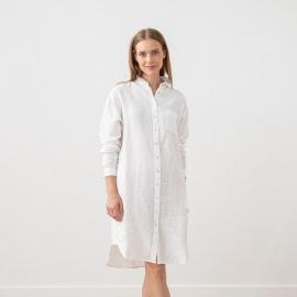 Blanco Vestido Camisero de Lino Paula