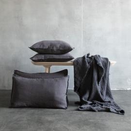 Gris Funda de Cojin de Lino Stone Washed