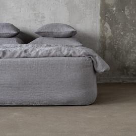 Gris Sábana Encimera de Lino Stone Washed Herringbone