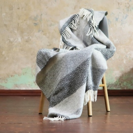 Grey Pure New Wool Throw Paula