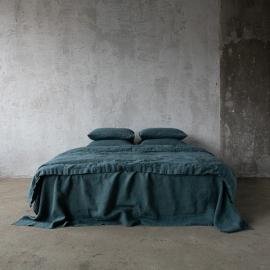 Balsam Verde Conjunto de Cama de Lino Stone Washed