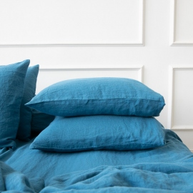 Sea Blue Funda de Almohada de Lino Stone Washed