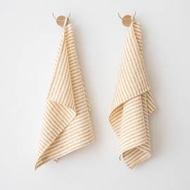 Set de 2 Gold Mano Toallas de Lino Brittany