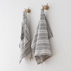 Set de 2 Graphite Mano Toallas de Lino Multistripe