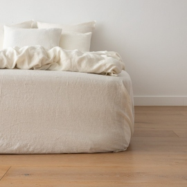 Off White Washed Bed Linen Fitted Sheet Crushed