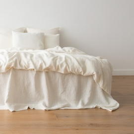 Off White Washed Bed Linen Flat Sheet