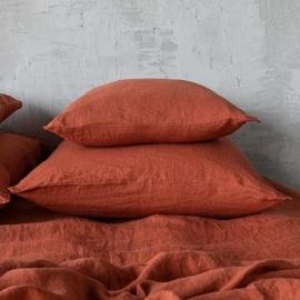 Brick Funda de Almohada de Lino Stone Washed