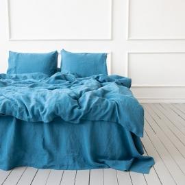 Sea Blue Conjunto de Cama de Lino Stone Washed