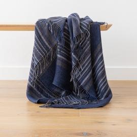 Tejido de lino de rayas índigo Paolo
