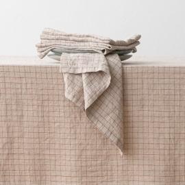 Mantel de Lino Natural Brick Check