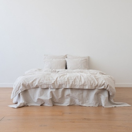 Natural Edredon de Lino Pinstripe Washed