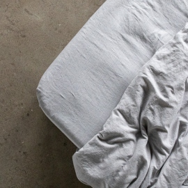 Graphite Sábana Encimera de Lino Pinstripe Washed