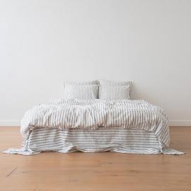 Indigo Edredon de Lino Stripe Washed