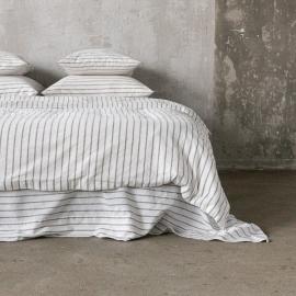 Graphite Edredon de Lino Stripe Washed