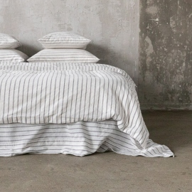 Graphite Edredon de Lino Stripe Washed