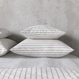 Graphite Funda de Almohada de Lino Stripe Washed