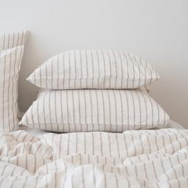 Natural Funda de Almohada de Lino Stripe Washed