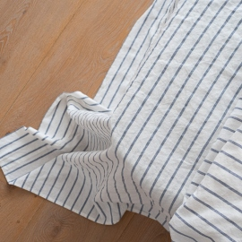 Indigo Sábana Bajera Ajustada de Lino Stripe Washed
