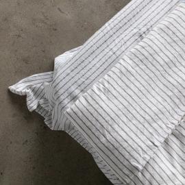 Graphite Sábana Bajera Ajustada de Lino Stripe Washed
