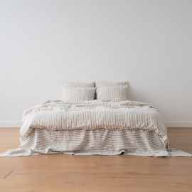 Natural Conjunto de Cama de Lino Ticking Stripe