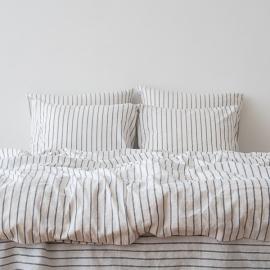 Indigo Conjunto de Cama de Lino Stripe Washed