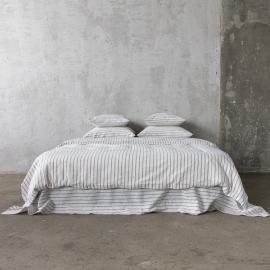Graphite Conjunto de Cama de Lino Stripe Washed