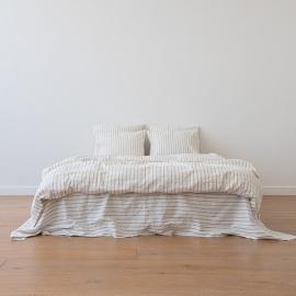 Natural Conjunto de Cama de Lino Stripe Washed