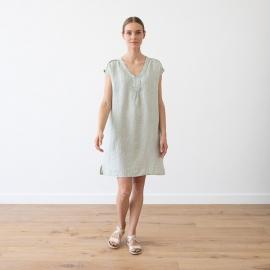 Moss Green Melange Vestido de Lino Emily
