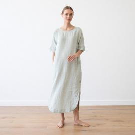 Vestido de Lino Moss Green Melange Nora