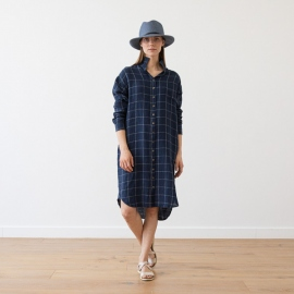 Navy Off White Window Pane Vestido Camisero de Lino Paula