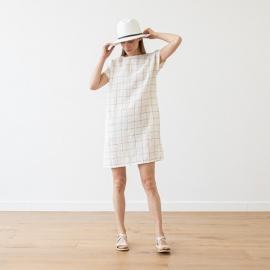White Navy Window Pane Vestido de Lino Alice